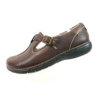 Clarks Unstructured Un.Block Brown Leather T Strap Clog Flats Women's Size 7.5 W