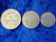 Post War France Coin Trio 3 Aluminium Issues - 1,2,5 Francs VF