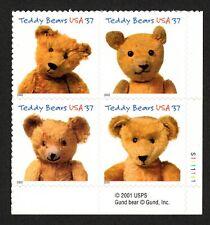 USA Sc. 3656a 37c Teddy Bears 2002 MNH block of 4