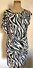 Tango Mango Collection One Sleeve Dress Black White Animal Zebra Print Size M