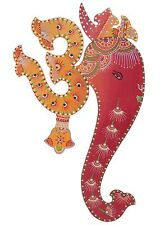 Ethnic Handmade Wooden Indian Art Wall Decor Hanging God Ganesha & Spiritual Om