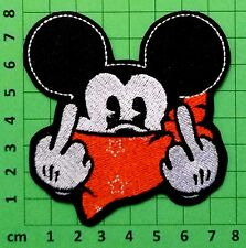 RUDE BAD MICKEY MOUSE MIDDLE FINGER BANDANA WITH STARS EMBROIDERY IRON ON PATCH