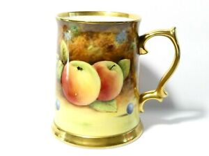 """Hand Painted FRUITS Signed J. BAILEY Baroness Staffordshire China Tankard 5"""""""
