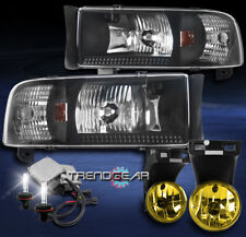 1994-2001 DODGE RAM BLACK CRYSTAL HEADLIGHT W/YELLOW DRIVING FOG LIGHT+8000K HID
