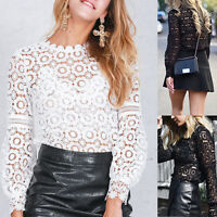 Women Ladies Casual Lace Blouse Ladies Long Sleeve Shirt Loose Tops T-Shirt S-XL