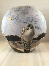 Vera Russell original signed clay pottery 10.5 vase accented with 22k gold