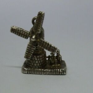 Vintage silver windmill charm, moves