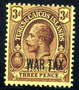 1917 Turks & Caicos Island War Stamp Opt. SC#MR2 A1O 3p Vio Yel  MNHOG