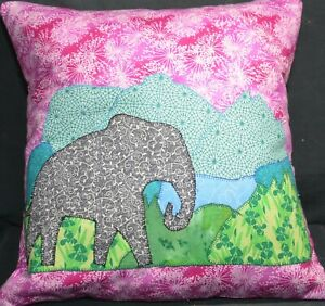 Quilted Pillow - Elephant in Grass with Purple Background