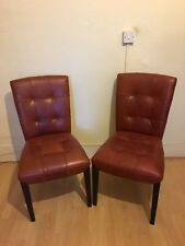 Stone International 2 Red Leather Dining Chairs