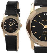 Damen Armbanduhr Schwarz/Gold Cutglas Kunstlederarmband 3 ATM von AKZENT