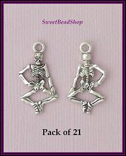 21 Antique Silver Colour 26 x 13mm Skeleton Bones Gothic Charms - Halloween