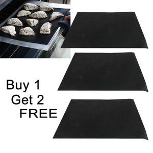 3X Heavy Duty Teflon OVEN LINER Sheet Mat Non Stick Reusable BBQ Cooker UK