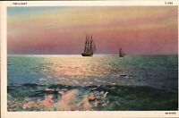 Vintage Beautiful Sunset on Ocean with sailboats- Linen Postcard  Mint cond.