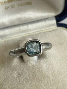 Vintage 925 Silver & Blue Topaz Solitaire Dress Ring Size Q 1/2 2.6 Gram