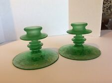 Vintage Depression Frosted Green Glass Candle Holders W/ Grape & Leaf Pattern