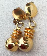 NAF NAF Boucles d'oreilles dorées CLIPS Earrings Gold Tone signed - VINTAGE