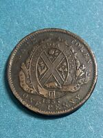 "1837 Lower Canada  "" Bank Of Montreal  One Penny  Token"