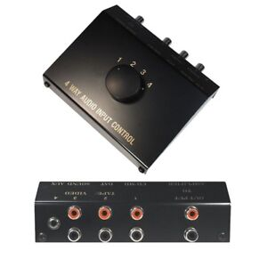Audio Chinch Cinch Klinke Verteiler Umschalter Umschaltbox Switch 4 IN 1 OUT
