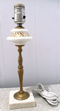BRASS w PORCELAIN~MARBLE BASE~VINTAGE TABLE LAMP~*NO SHADE*