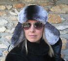 Genuine Black Sheepskin Chinchilla Rex Fur  Exclusive Russian Ushanka Bomber Hat