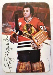 1976-77 Topps Glossy Insert Tony Esposito Card #3 of 22 Black Hawks