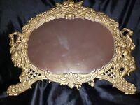 Antique Victorian Dresser Vanity Mirror Iron Metal Art Cherubs Swivel Stand Gold