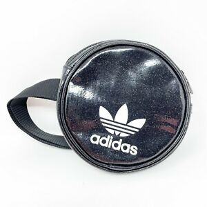"Adidas Fanny Pack Black Glitter Circle Logo Bag Purse SAMPLE Trefoil Spellout 7"""