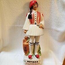 "Vintage Hand Painted METAXA Greek Specialty Liqueur Greek Man Empty Decanter 18"""