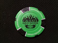 "Harley Davidson Poker Chip ""NEON Green & Black"" ""Caliente"" San Antonio, Texas"