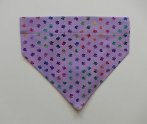TINY PAW PRINTS ON PURPLE DOG SCARF/BANDANA--S, M, L