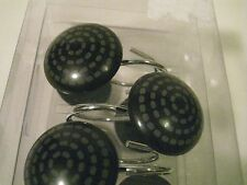 Black and Grey Geometric Concentric Circles Shower Curtain Hooks Set of 12 NEW