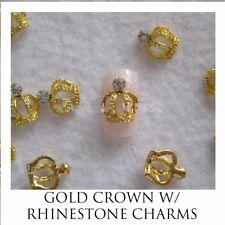 USA GOLD CROWN W/ CRYSTAL RHINESTONE Charms Nail Art 3D Acrylic Gel Crafts