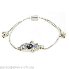 Fashion Silver Crystal Evil Eye Hamsa Protection Adjustable Bracelet