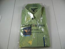 Croft & Barrow Green Check Dress Shirt Long Sleeve Easy Care 16 1/2 34/35 NWTS!!