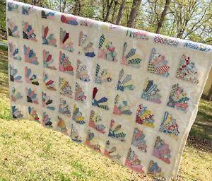 "Antique Vintage Patchwork Cotton Feedsack Quilt Hand Quilted FAN Quilt 60"" x 69"""