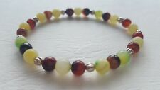 MULTI-COLOUR QUARTZITE AND AGATE AND STERLING SILVER STRETCH BRACELET (6MM).