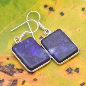 PURPLE  SODALITE  Silver Plated  Gemstones Earrings BBB349