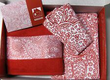 Set Lenzuola Matrimoniale 2 Asciugamani 2 Tovagliette Profumo Box Rosso Bassetti