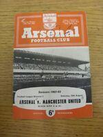 25/08/1962 Arsenal v Manchester United  (Creased, Small Hole To Corner, Writing