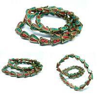 Tibetan Nepalese Artisan Handmade Brass  Turquoise & Coral 50 Masala beads Nepal