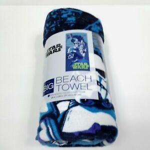 "Star Wars Bathroom Towel Beach Bath Swim Dark Vader Storm Trooper Blue 28"" x 58"""