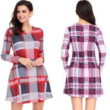 Fashion Women Preppy Shirt Dress Plaid Long Sleeve Button A-line Casual Blouse