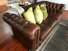 Dark Brown Vintage Leather Chesterfield in Good Condition