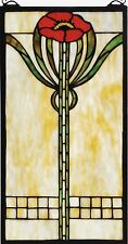 """Parker Poppy Stained Glass Arts and Crafts Window 20"""" Tall - Price Reduced"""
