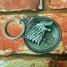 Game Of Thrones Round Jon Snow Direwolf Winter Is Coming Stark Wolf Keyring