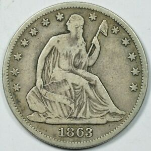 1863 Seated Liberty Half Dollar 50c Very Fine VF, Nice Original Example