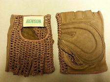 593A Brown Large Leather Mesh Cycling Goves Benson NOS