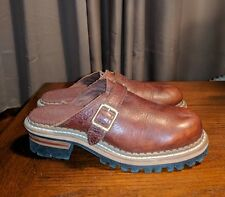 RARE GEORGIA BOOTS BROWN LEATHER LOGGER CLOGS LADIES 7 M MULES HARNESS BIKER