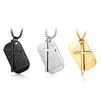 Men's Stainless Steel Bible Prayer Verse Dog Tag Cross Pendant Necklace Chain